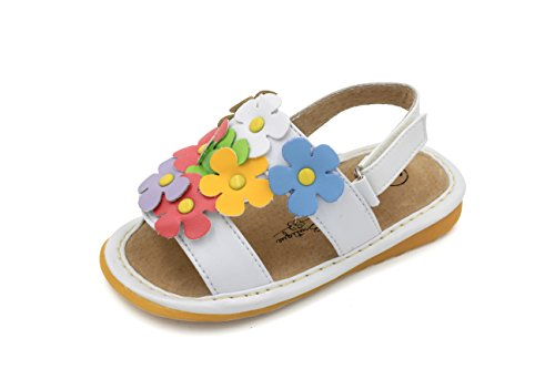 Little Mae's Boutique Mary Jane White with Multi-Color Flowers Squeaky Sandals for Toddler Girls, Walking Sandals with Removable Squeaker & Adjustable Velcro Strap - Soft Sole Sandals for Little Girls