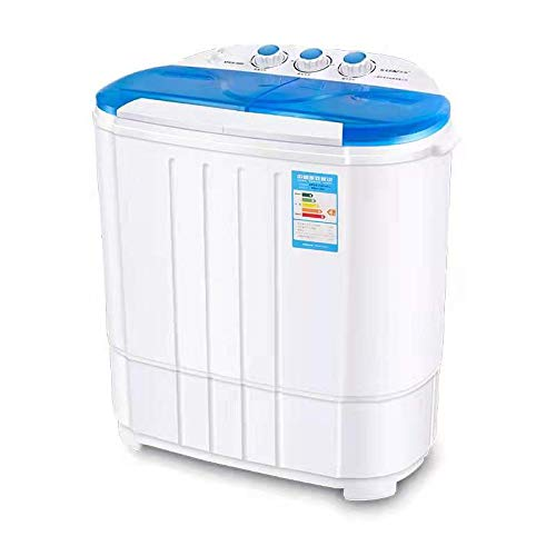 Portable Twin Tub Mini Washing Machine w/Spin and Dryer Function, Compact Design for College Dorms, Apartment, RV's. Mini laundry Barrel Washer for Baby Clothes, Underwear, Delicates and More-Blue