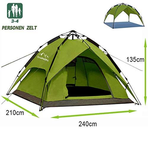 Campmore Wurfzelt 2/3/4 Personen, Sekundenzelt Campingzelt Kuppelzelt 240x210x135cm(Grün)
