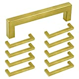 LICTOP 10 Pack 5.5' (140mm) Length Gold Square Bar Cabinet Pull Drawer...