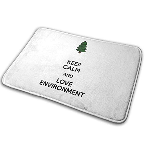 Felpudo Keep Calm and Love Environment Alfombra de Entrada de árbol Antideslizante Linda Alfombra de Entrada Interior al Aire Libre...