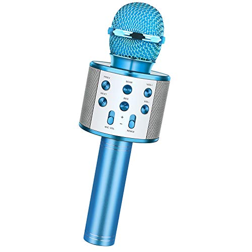 dmazing Niños, Juguete Niño 3-15 Años Karaoke Portatil con Microfono Regalos para Niños de 7 8 9 10 Años Juguetes Chicos 3-15 Años Regalos Fiesta Ultimos Juguetes Azul