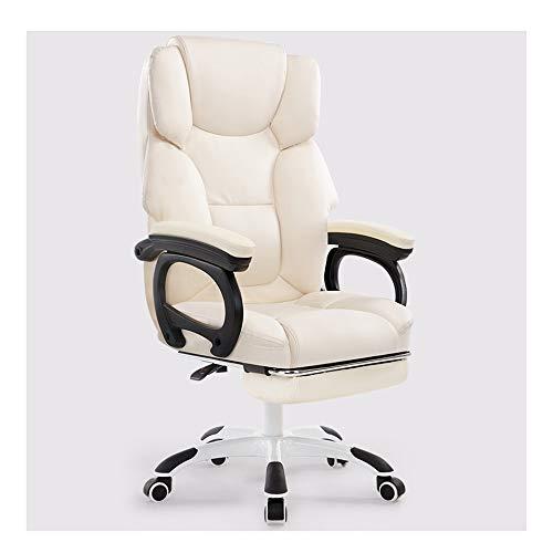 JCXOZ-sedia da ufficio Chair Computer Office Chair sedie reclinabili poggiapiedi Massaggi Pausa pranzo Sedia scorrevole corrimano regolabile in altezza portanti 150kg Desk Sedie (Color : Beige)