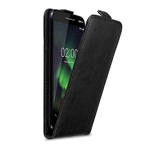 Cadorabo Hülle für Nokia 2.1 2018 in Nacht SCHWARZ - Handyhülle im Flip Design mit unsichtbarem Magnetverschluss - Hülle Cover Schutzhülle Etui Tasche Book Klapp Style