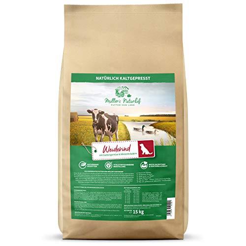 Müllers Naturhof | Weiderind | 15 kg | Ente & Forelle | Gartengemüse & Wiesenkräuter | Natürlich kaltgepresst | Trockenfutter für alle Hunderassen | Traditionell hergestellt