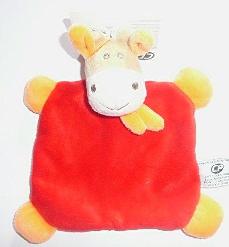 CP INTERNATIONAL Malice et Bulle - Peluches et Doudous - Doudou Plat Vache Rouge écharpe Orange 18 x 18 cm bébé garçon