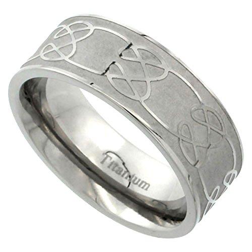 Sabrina Silver 8mm Titanium Wedding Band Celtic Knot Ring Flat Brushed Background Comfort Fit Size 12
