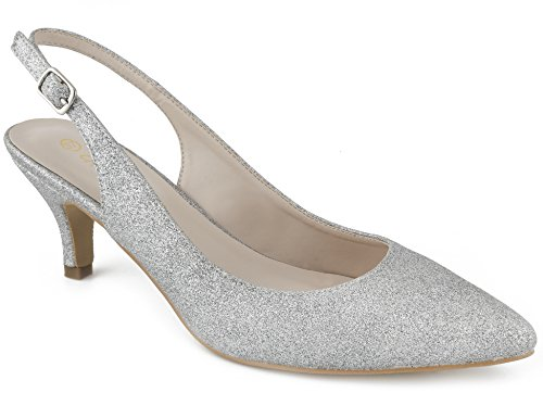 Greatonu Women Shoes Silver Glitter Kitten Heels Slingback Dress Pumps Size 6.5