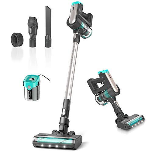 Womow Cordless Vacuum Cleaner, 300W Powerful Stick Vacuum, Rechargeable Battery Powered Pet Hair Vacuum, Portable 2 in 1 Handheld Vacuum Cleaner for Hard Floor Stairs Car