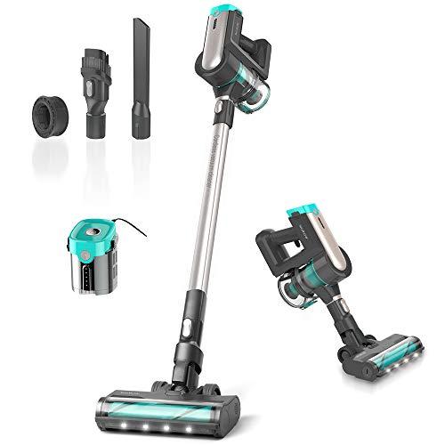 Womow Cordless Vacuum Cleaner, 23Kpa 300W Powerful Stick Vacuum, Rechargeable Battery Powered Pet Hair Vacuum, Portable 2 in 1 Handheld Vacuum Cleaner for Hard Floor Stairs Car (Green)