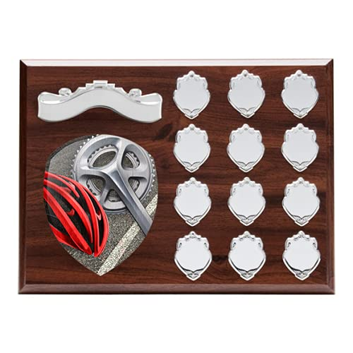 Trophy Monster 12 Year Cycling Wooden Annual Shield   with Natural Birchwood Printed Centrepiece   Standard Emblem or Own Logo   Free Engraving   230x305mm