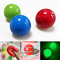 Fluorescent sticky target ball, jelly anti-stress water pig ball, children's interactive party bag toy, grape ball glowing stress exercise toy for everyone, 3 pieces (【Normal-random】)