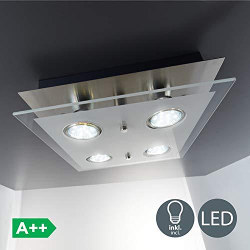 B.K.Licht - Lámpara plafón LED de forma cuadrada con 4 focos y de cristal para...