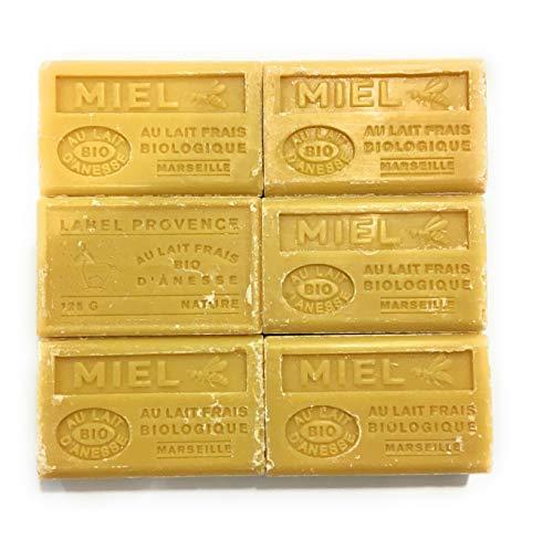 Label Provence-lot de 6 savons de Marseille Bio-lait d'anesse-parfum miel