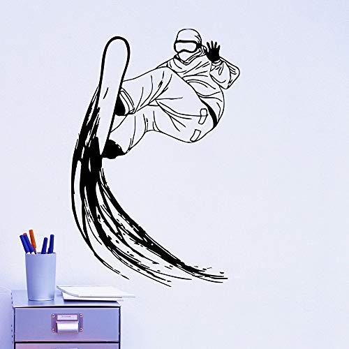 hetingyue Coole Ski Platte Zahn Wandtattoos Vinyl Wandaufkleber Snowboard Extremsport Serie Kreative Heimtextilien Qualität Tapete 71x48cm