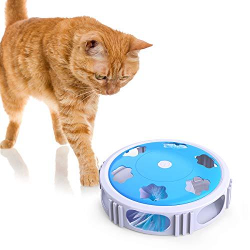 DADYPET Juguete para Gatos Interactivo, Juguete Gato con luz LED, Campana y Plumas