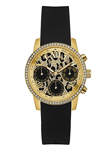 Guess Unisex volwassene chronograaf kwarts horloge met lederen armband W0023L6