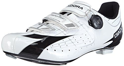 Diadora Vortex- Comp - Zapatillas de ciclismo de material sintético unisex, color bianco (weiß (weiß/schwarz 3510)), talla 44.5 EU