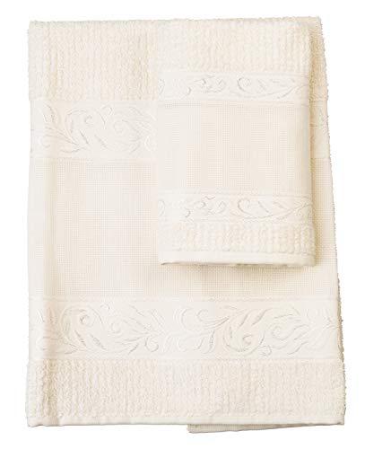 Red – Juego de toallas de mano con invitados, 100% rizo de algodón, color liso, con inserto de tela Aida para bordar, color marfil