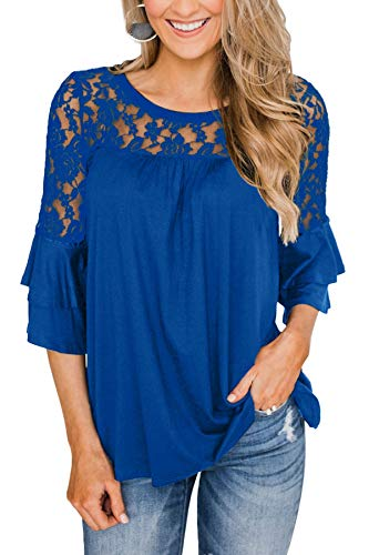 For G and PL Damen Spitze T-Shirt Damentop Elegante Rüschen 3/4 Arm Spitzenshirt Baumwolle Shirt Blue XL