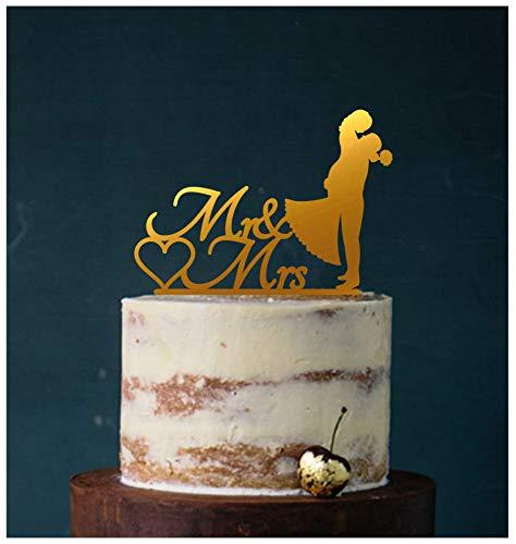 Cake Topper, Kuss, Tortenstecker, Tortefigur Acryl, Tortenständer Etagere Hochzeit Hochzeitstorte Kuchenaufstecker (Gold) Art.Nr. 5063