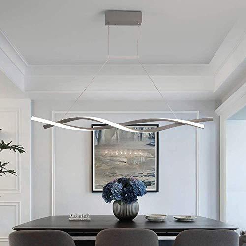 Lámpara colgante LED regulable con mando a distancia, lámpara colgante moderna en espiral para cocina, bar, café, comedor, salón, oficina, gris (L100 cm)