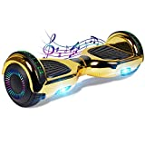 CBD Bluetooth Hoverboard for Kids, 6.5 Inch Two Wheel Hoverboard, Self Balancing Hoverboard with Bluetooth and LED Lights(Chrome Gold)