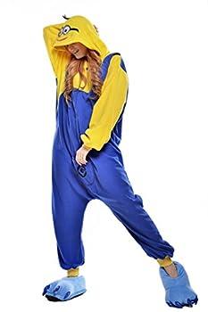 NEWCOSPLAY Unisex Adult Minions Pyjamas Halloween Onesie Costume  Large