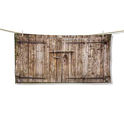 Toallas de Playa Puerta de Garaje Cerrada de Roble Viejo con bisagras de Acero Imagen de Entrada de cabaña típica Vintage Toalla de Playa Grande con borlas Cubierta de Mesa de Picnic