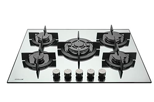 Millar GH7051PS - Placa de cocina de cristal templado con 5 quemadores de gas (70 cm), color plateado y espejo
