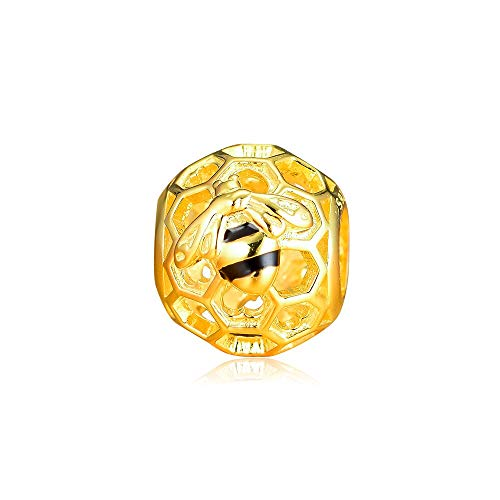 LILIANG Pandora Fit Charms Bracelet 925 Sterling Silver Honeybee Calado Shine Charm Beads Joyería De Plata Original