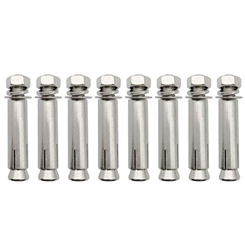 Sipery Expansion Bolts, 304 Stainless Steel External Hex Nut Expansion Screw Bolts Sleeve Anchor M8x60mm 8Pcs