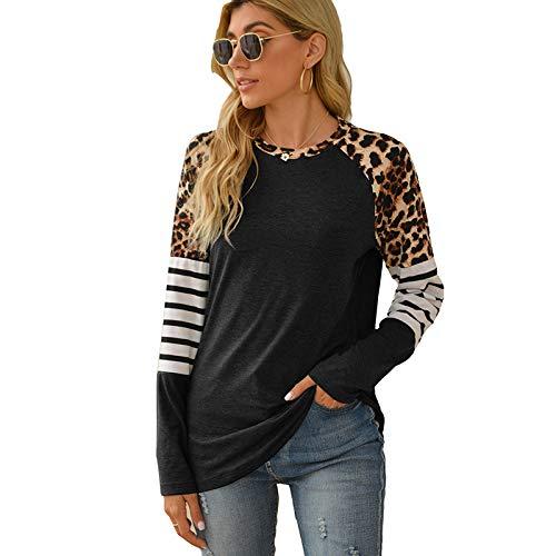 Camiseta de Manga Larga Suelta con Estampado de Leopardo de otoño Informal Sexy para Mujer