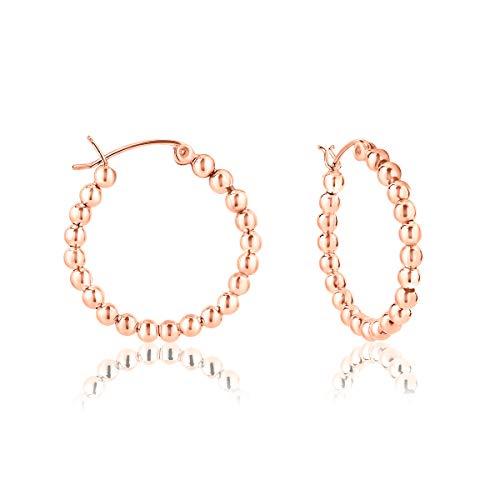 DTPsilver - Damen - Creolen mit Kugel - Ohrringe 925 Sterling Silber Rosen Vergoldet - Dicke 3 mm - Durchmesser 25 mm