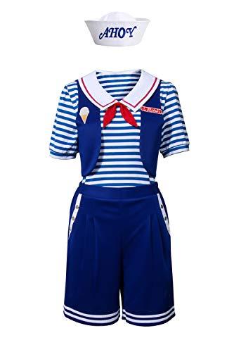 NUWIND Robin Scoops Ahoy Damen Kostüm Halloween Party Cosplay Matrosenanzug Matrosen Uniform Satz Stranger Things Costume (XL)