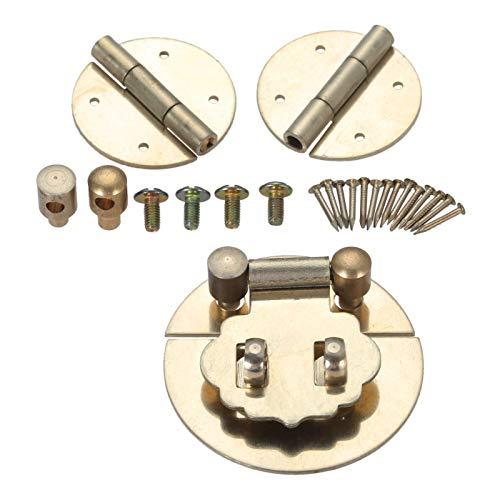 3 unids/set 45 mm Mini de madera europea caja de madera Hebilla Hebilla Lock Cerradura con bisagras decorativas Vintage Blass Lock Set Caja de pecho Joyería de madera Pequeña caja