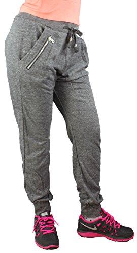 2Store24 Damen Sweatpant/Jogginghose mit tiefem Schritt Deep Crotch Sweatpant Haremhose Melange Farben