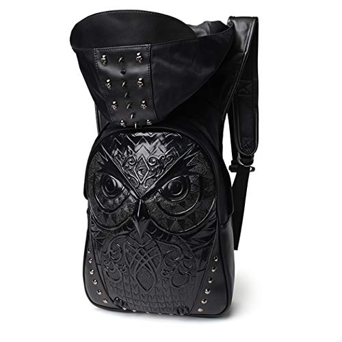 Lfny-bagEmbossed 3D Owl Leather Backpack Herrenrucksack Casual Computer Bag 3D-Rucksack mit Kapuze,Schwarz