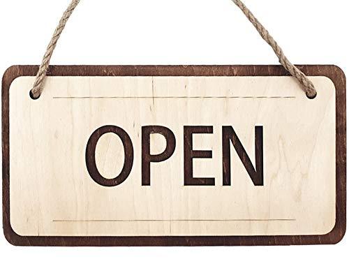 Open Closed Cartello 30x15 cm - Cartello Doppio Lato da Appendere - Cartello di Legno Targhette per Porte Cartello Pensile Bifacciale per Negozio Caffè Ristorante Pub Bar - Cartello in Legno Aperto