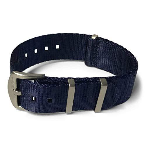 AlphaShark by BluShark Luxury Seat Belt Nylon Watch Strap 22mm Navy Blue