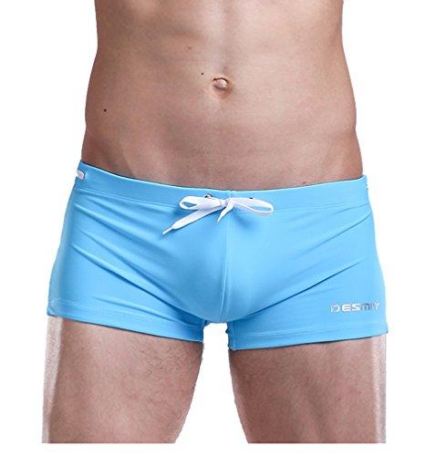 WUAMBO Men's Solid Swimming Shorts Fashion Swimwear Light Blue US M with Asian Tag XL(Waist:32