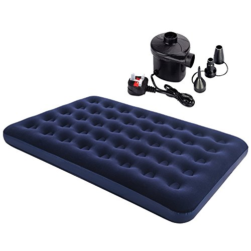 Denny International Double Inflatable Flocked Air Bed Camping Mattress with Free Electric Air Pump