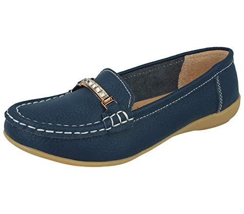 Damen Mokassins aus echtem Leder mit Quaste, flach, Bootsschuhe, Loafer, Größe 36-41, Blau - Dunkelblauer Schmuckstein - Größe: 38 EU