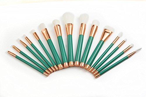 15pcs Brosse à maquillage professionnel Set / Blush Brush / Brosse à paupières / Brosse à lèvres / Brosse à sourcils / Eyeliner Brush / Liquid Eyeliner Brush , green