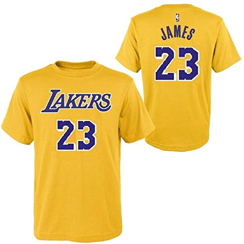 Outerstuff Lebron James Los Angeles Lakers Yellow Youth Name & Number Jersey T-Shirt (Large 14/16)