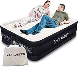 Englander Queen Size Air Mattress w/ Built in Pump - Luxury Double High Inflatable Bed for Home, Travel & Camping - Premium Blow Up Bed for Kids & Adults - Black
