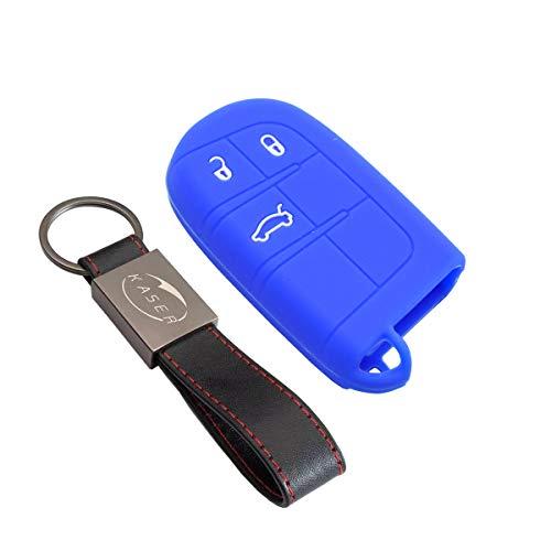 Funda Silicona para Llave Jeep – Carcasa Llaveros para Coche Jeep Chrysler Dodge Cherokee Grand Cherokee Renegade Delta Durango Ypsilon Cover Case Protección Mando Distancia Auto (Azul)