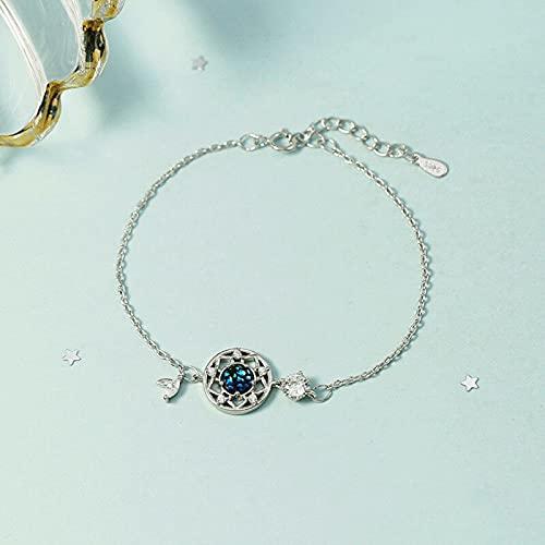 Abalorio de plata de ley 925 con borla de cristal, pulsera y pulsera, joyería hecha a mano para mujer (color de la gema: oro rosa)