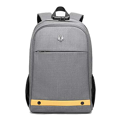 Hoteon Golden Wolf Laptop Backpack with Rain Cover, Anti-Theft Locker, fits up to 15.6 inches Laptop, USB Port, Earphone Port, Water Resistant (Light Grey)