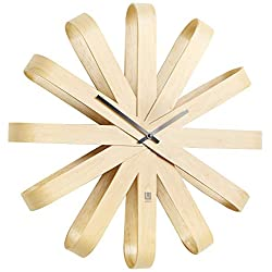"Umbra Ribbonwood Large Modern Wall Clock, Battery Operated, Silent, Non Ticking, Unique, 20 Diameter x 4"" Width x 20 Height, Natural"